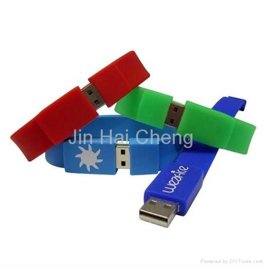 CE/FCC/RoHS Rubber Bracelet USB Flash Disk 3