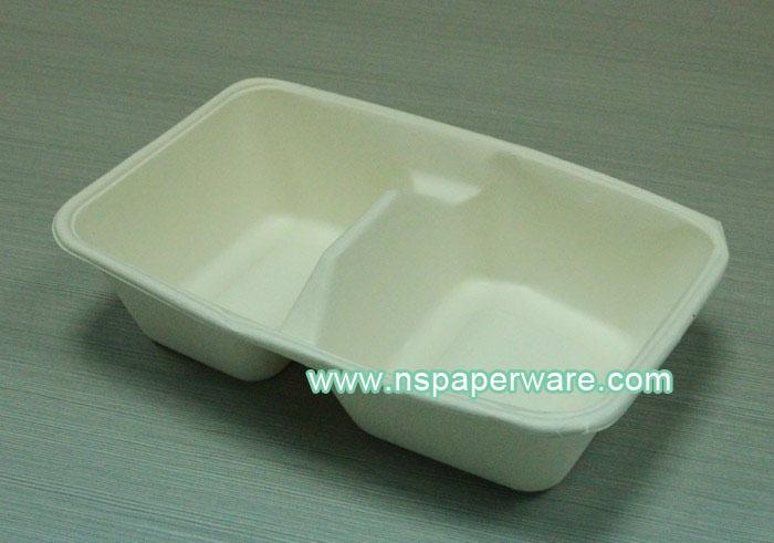 600ml Biodegradable Bagasse Disposable Bento Lunch Boxes 1