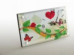 MDF无框画玻璃座钟