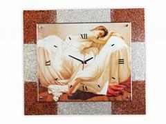 MDF歐式金銀粉玻璃時鐘