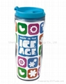 plastic travel mug BPA free with paper