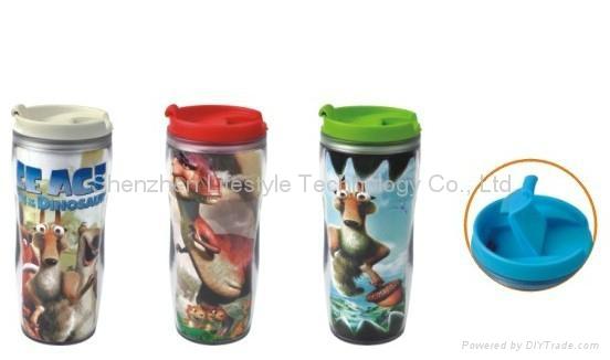 plastic travel mug BPA free with paper insert  2