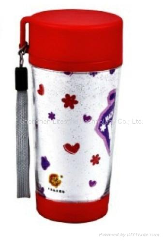 promtional mugs/plastic travel mug BPA free with paper insert  1