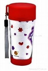 promtional mugs/plastic travel mug BPA free with paper insert