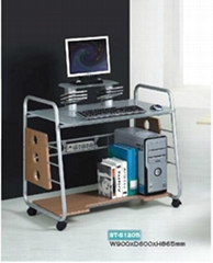 mobile glass computer desk with CD nets