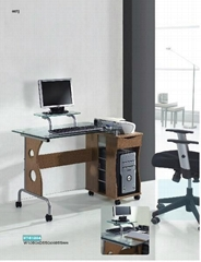 mobile glass desk with drawer