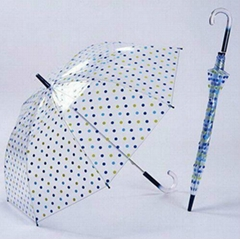 Best selling 2012 new style fashion colorful printed PVC transparent umbrella