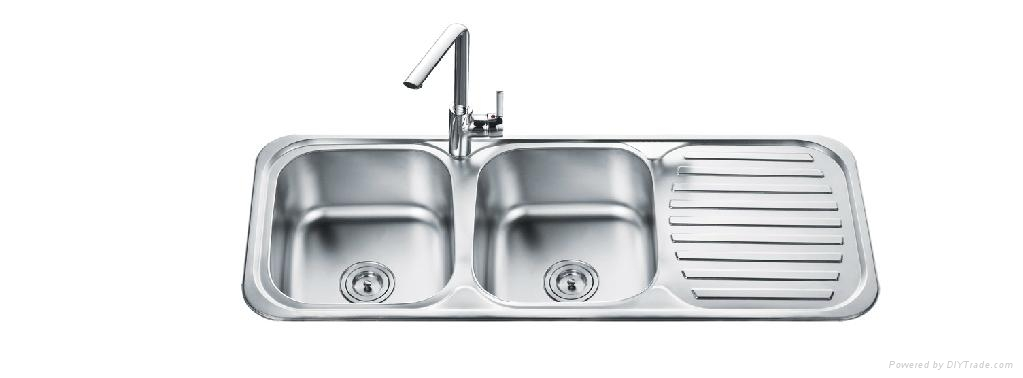 Stainless Steel Double Bowl Sink With Drainer Board 1 ...