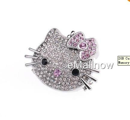 wholesale 2GB Cute Cat Diamond Jewelry USB 2.0 Flash Memory Drive  1