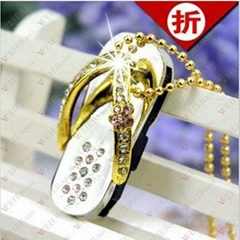 wholesale 8GB Crystal shoe shpae USB Flash Drive Pen Drive Memory stick Keychain