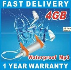4GB Waterproof MP3 Playper FM Underwater Swimming Sport Swim Surf Run Sliver New
