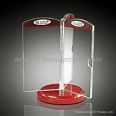 Plastic Rotating Three Sides Acrylic Menu Stand Table Tent Holders - Plastic table tent holders