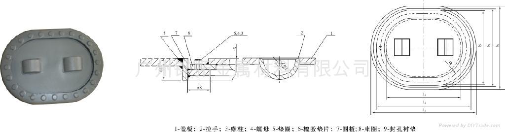 船用人孔蓋(D型)(CB/T19-2001)  1
