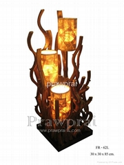 Modern wooden floor shade lamp w/ art design