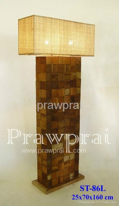 Rectangular Fabric Shade On Solid Wood Joint Floor Lamp Wholesale & Retail 1