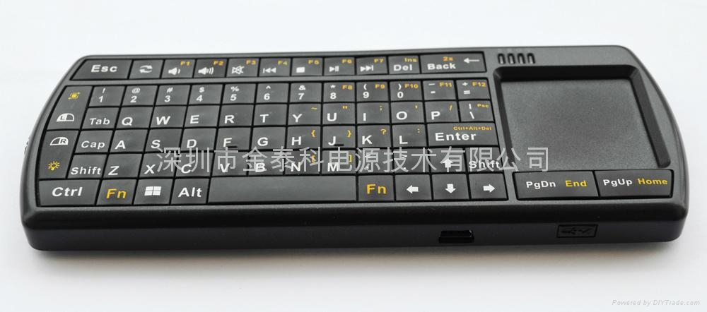 2.4G RF wireless Micro keyboard with integrated touchpad and Laser Pointer prese 2