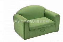 浅绿布衣儿童沙发