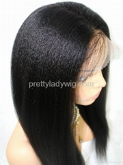 Wholeslae remy hair kinky straight full lace wig