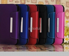 Luxury Matte PU Leather Magnetic Wallet Case For Samsung Galaxy S4 i9500 With St