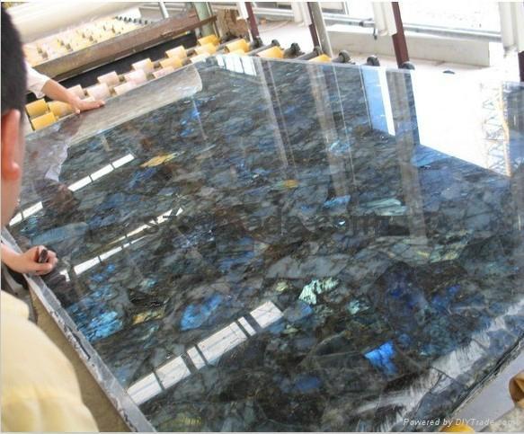 Semi Precious Stone Natural Labradorite Tile Shining
