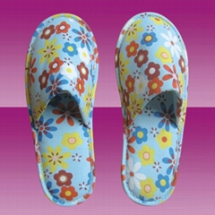 indoor colorful print flower fabric slipper for lady