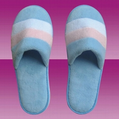 indoor colorful striped coral velour slipper fo lady