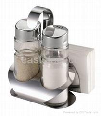 Salt and Pepper Set with Napkin Holder