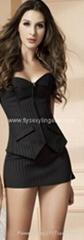 Women Stripe Zipper Cors