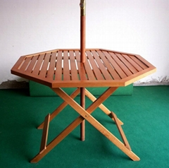 Wooden octagonal table with Umbrella