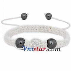 Wholesale clear crystal stones beads macrame bracelet SBB205-1