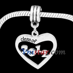 Antique silver plated hollow heart dangle bead PBD3441 with digital 2012