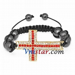 Wholesale cross bead macrame bracelet SBB293-6 with clear and red stones