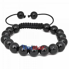 Black agate beads macrame bracelet wholesale SBB269