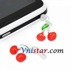 Wholesale vnistar silver plated cherries anti dust plug ADP014