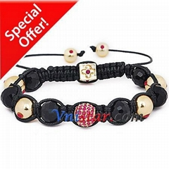 Beads wrap bracelet SBB131-7 with fuchsia stones