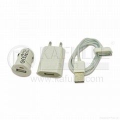 USB Cable + Car + Wall Charger For Apple iPhone 3G 3GS 4G