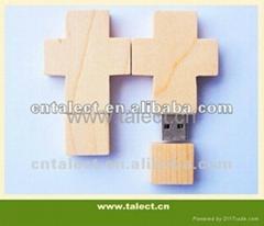 cross shape wooden usb flash drive