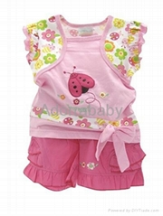 baby clothing 2 piece set blouse and shorts