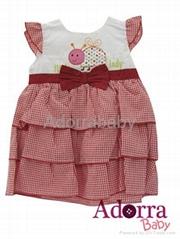 baby dress multi-layer dress with underwear red orange yellow