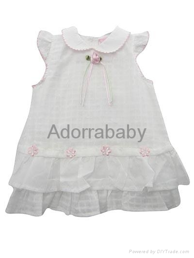 white baby dress with little flower 1