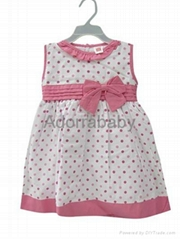 New baby girl dress pink dots baby dress