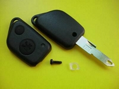 Peugeot 2 buttons car remote key shell with a hole on the blade tip