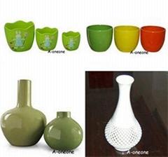 Glazed flower pot vase