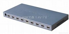 HDMI 1.4V分配器1分8,分频器1乘8
