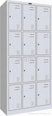 KD steel quadruple-tier triple-wide box locker assembled