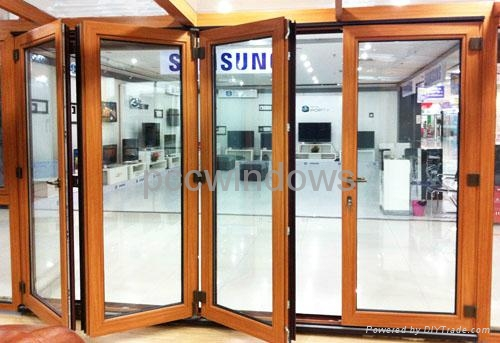 Aluminum Wooden Folding Door Am 4003 Pccwindows China Manufacturer Products