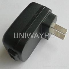 USB power adapter with USA plug and 5W output power
