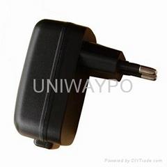 USB power adapter with EU plug and 5W output power