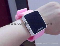Fashion LED Mirror silicone sport watch