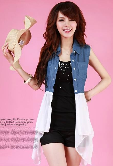 new fashionable ladys chiffonjeans tops product catalog